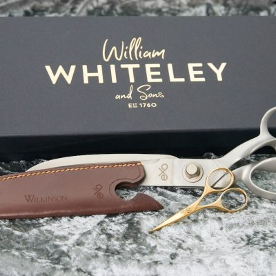 A photo of the Wilkinson EXO silver gift set which contains a premium gift box, high-quality leather sheath and choice of delicate embroidery scissors