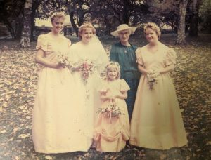 My mother's wedding day, all of the dresses handmade by my Great Nana